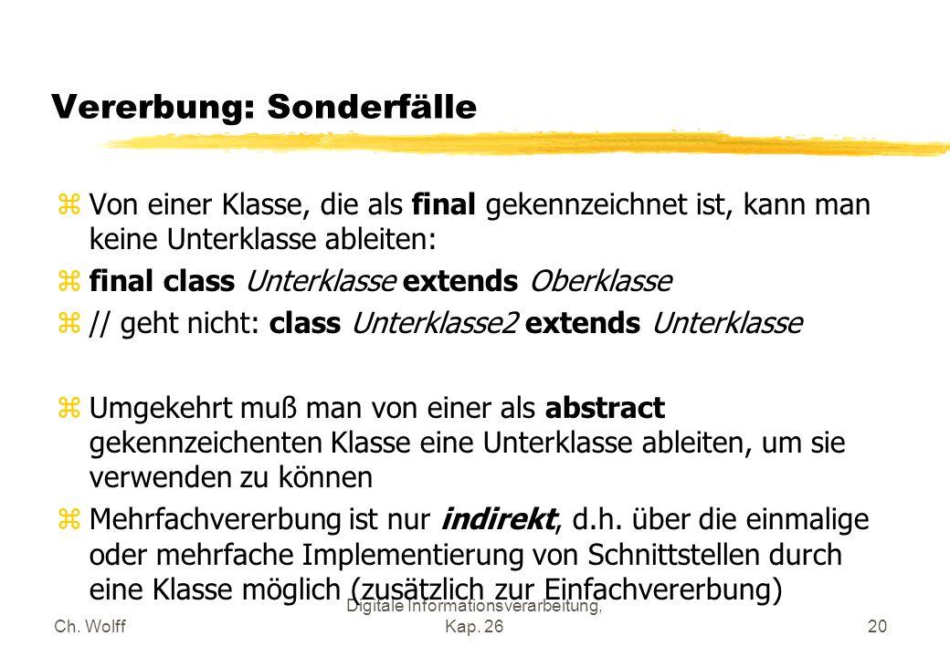 Ch. Wolff Digitale Informationsverarbeitung, Kap. 2620 Vererbung: Sonderfälle zVon einer Klasse, die als final gekennzeichnet ist, kann man keine Unte