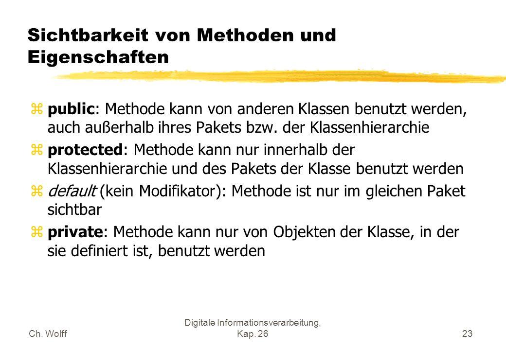 Ch. Wolff Digitale Informationsverarbeitung, Kap. 2623 Sichtbarkeit von Methoden und Eigenschaften zpublic: Methode kann von anderen Klassen benutzt w