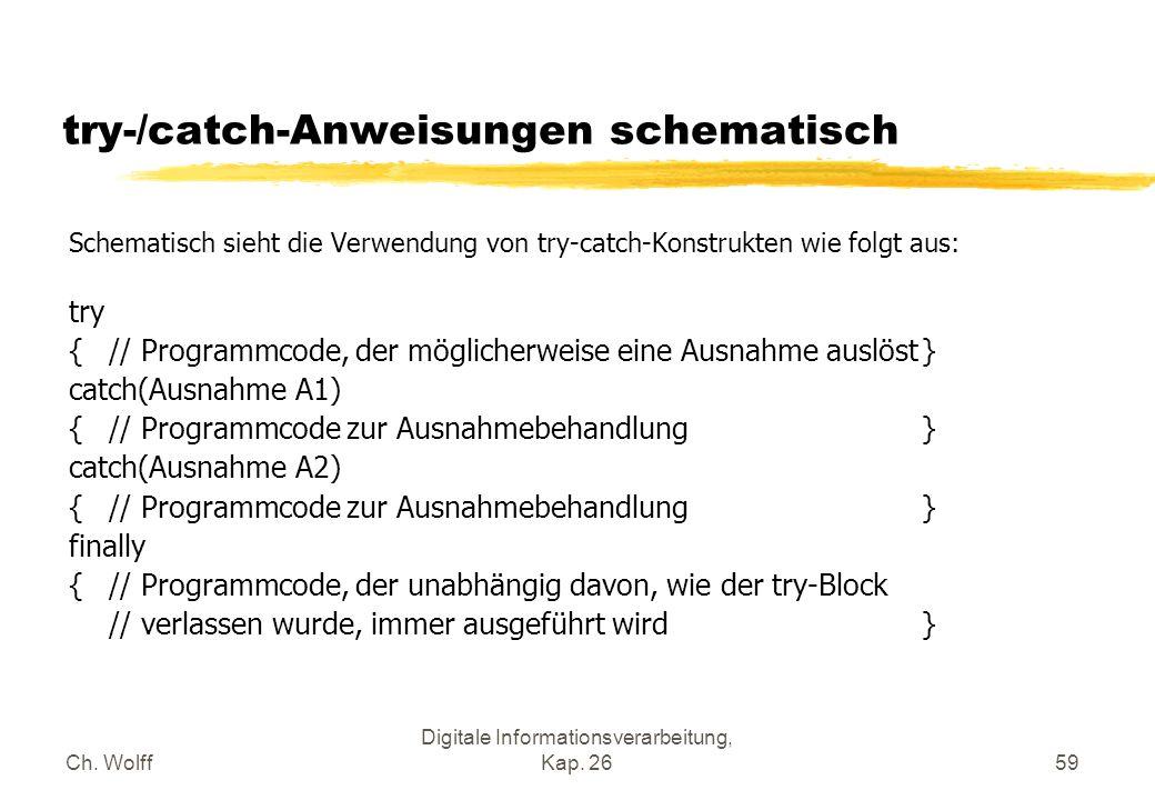 Ch. Wolff Digitale Informationsverarbeitung, Kap. 2659 try-/catch-Anweisungen schematisch Schematisch sieht die Verwendung von try-catch-Konstrukten w