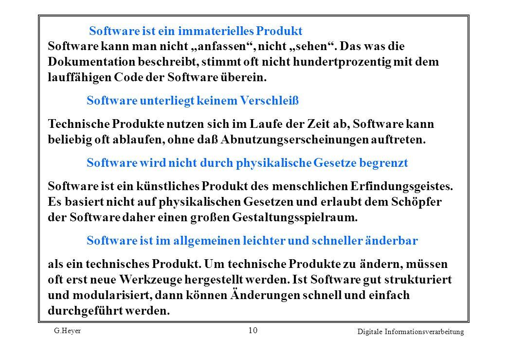 G.Heyer Digitale Informationsverarbeitung 10 Software ist ein immaterielles Produkt Software kann man nicht anfassen, nicht sehen. Das was die Dokumen