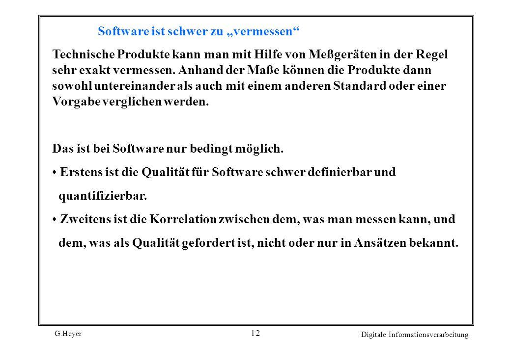 G.Heyer Digitale Informationsverarbeitung 12 Software ist schwer zu vermessen Technische Produkte kann man mit Hilfe von Meßgeräten in der Regel sehr