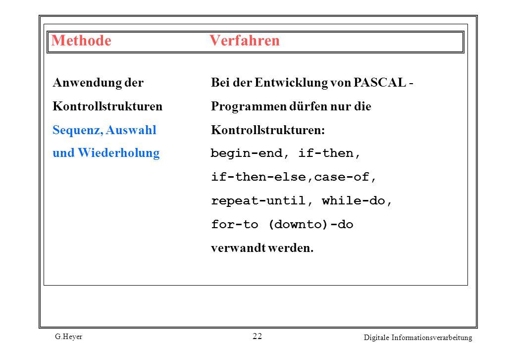 G.Heyer Digitale Informationsverarbeitung 22 MethodeVerfahren Anwendung derBei der Entwicklung von PASCAL- KontrollstrukturenProgrammen dürfen nur die
