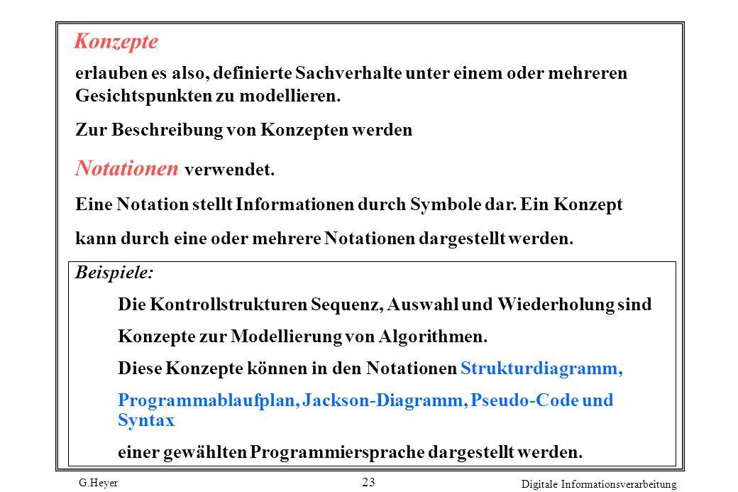 G.Heyer Digitale Informationsverarbeitung 23 Konzepte erlauben es also, definierte Sachverhalte unter einem oder mehreren Gesichtspunkten zu modellier