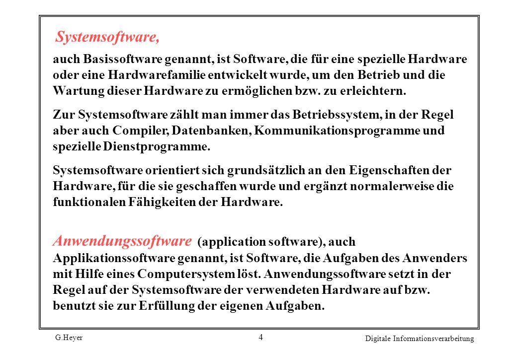 G.Heyer Digitale Informationsverarbeitung 4 Systemsoftware, auch Basissoftware genannt, ist Software, die für eine spezielle Hardware oder eine Hardwa