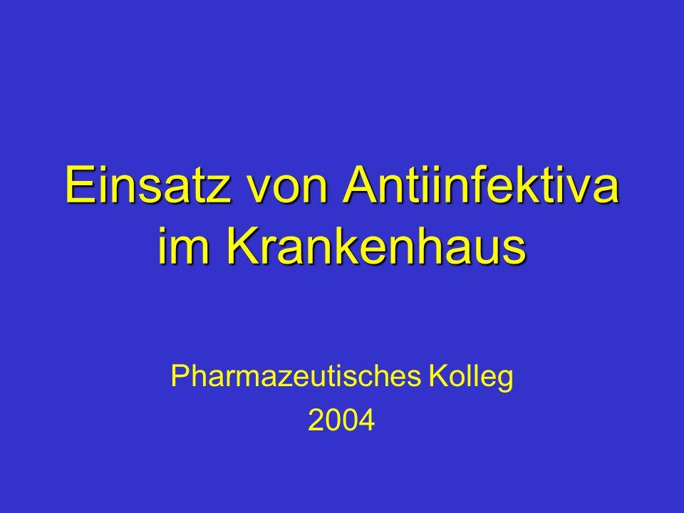 Gliederung Antiinfektiva - ein Kostenfaktor für das Krankenhaus Antiinfektiva - lebensrettende Arzneimittel für den Patienten Antiinfektiva - jeder Einsatz ein Risiko für den Patienten Antiinfektiva - ein Risiko für die Umwelt Einfluss des Krankenhausapothekers auf den Antiinfektivaeinsatz
