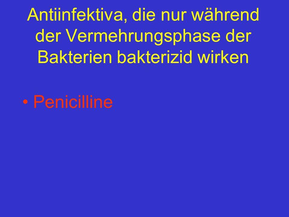 Antiinfektiva, die nur während der Vermehrungsphase der Bakterien bakterizid wirken Penicilline