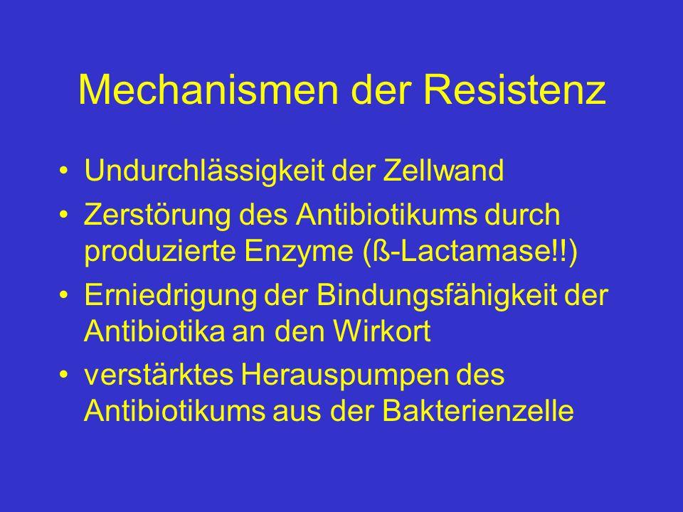 Mechanismen der Resistenz Undurchlässigkeit der Zellwand Zerstörung des Antibiotikums durch produzierte Enzyme (ß-Lactamase!!) Erniedrigung der Bindun
