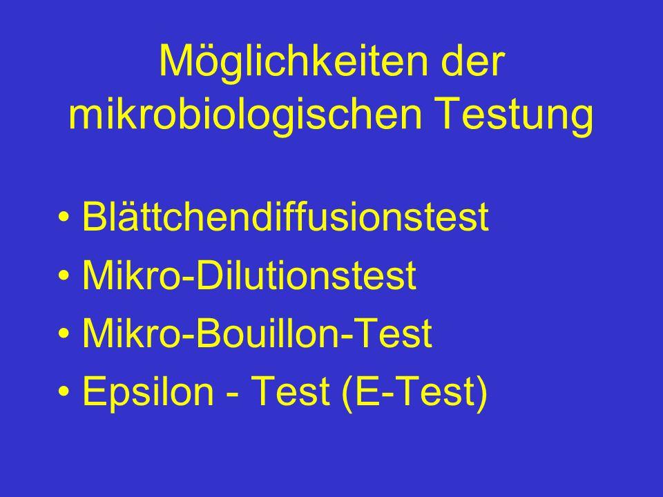 Möglichkeiten der mikrobiologischen Testung Blättchendiffusionstest Mikro-Dilutionstest Mikro-Bouillon-Test Epsilon - Test (E-Test)