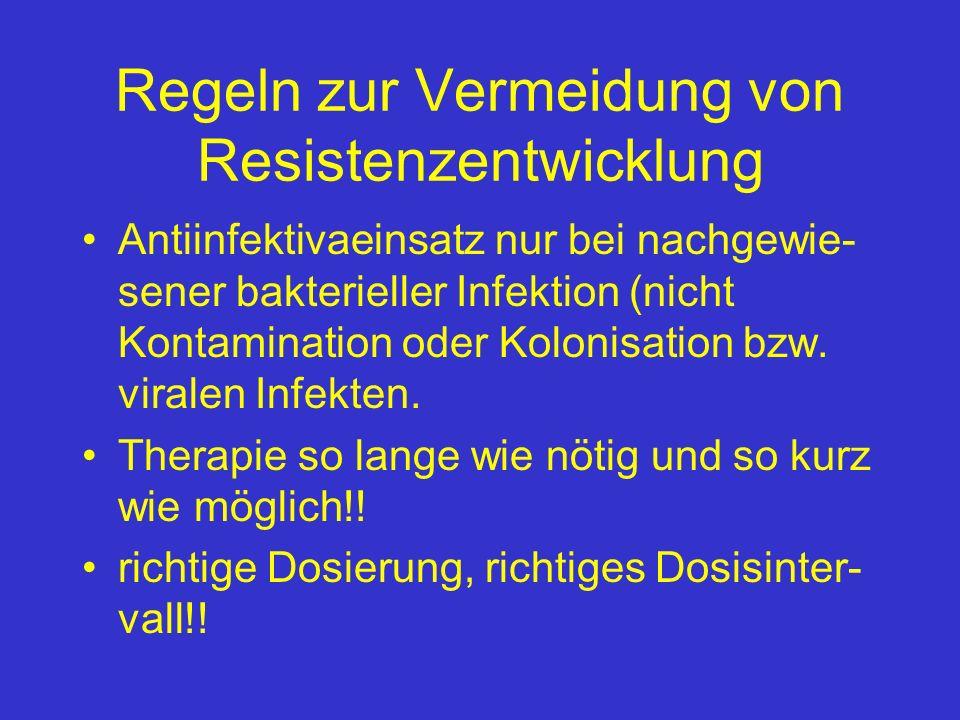 Regeln zur Vermeidung von Resistenzentwicklung Antiinfektivaeinsatz nur bei nachgewie- sener bakterieller Infektion (nicht Kontamination oder Kolonisa
