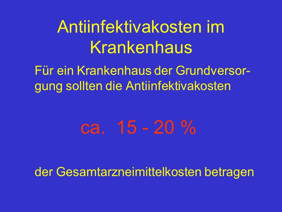 Antiinfektivakosten im Krankenhaus Für ein Krankenhaus der Grundversor- gung sollten die Antiinfektivakosten ca. 15 - 20 % der Gesamtarzneimittelkoste