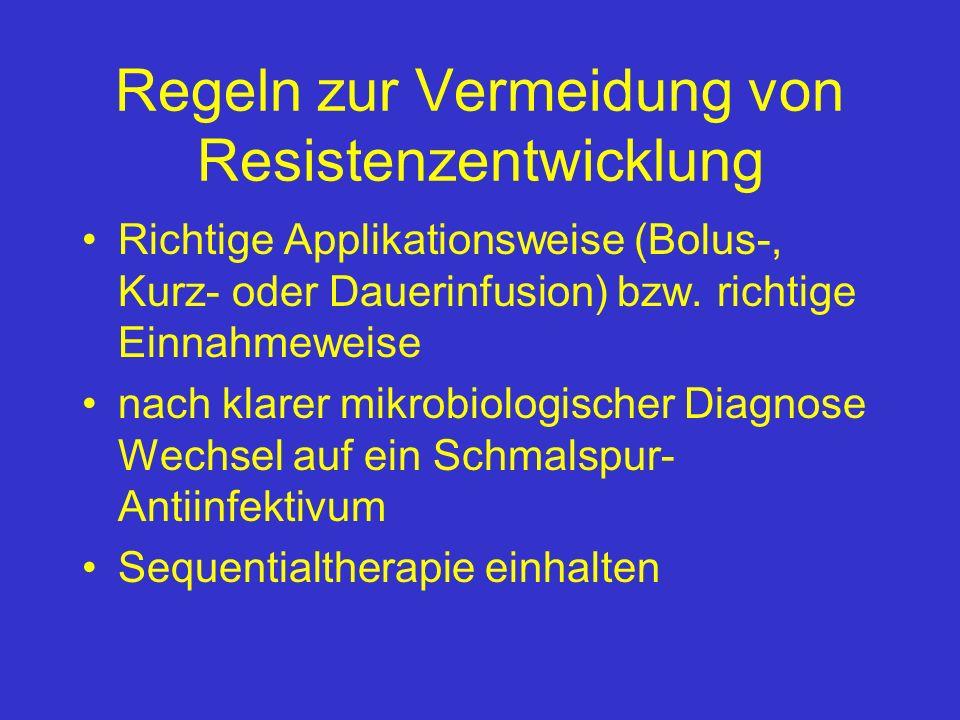 Regeln zur Vermeidung von Resistenzentwicklung Richtige Applikationsweise (Bolus-, Kurz- oder Dauerinfusion) bzw. richtige Einnahmeweise nach klarer m