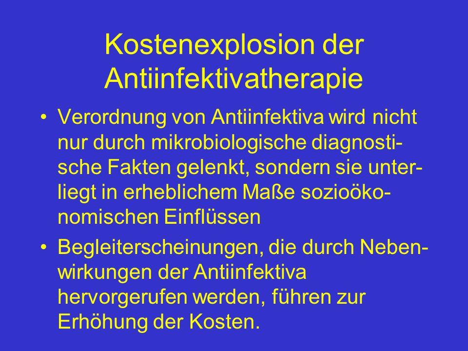 Kostenexplosion der Antiinfektivatherapie Verordnung von Antiinfektiva wird nicht nur durch mikrobiologische diagnosti- sche Fakten gelenkt, sondern s