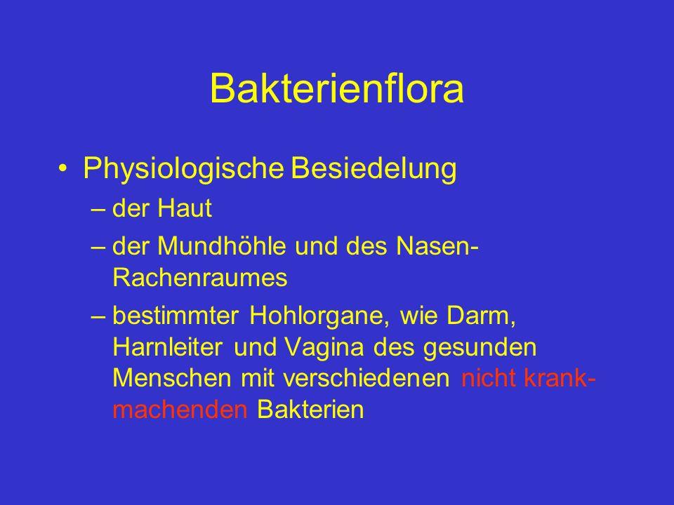 Bakterienflora Physiologische Besiedelung –der Haut –der Mundhöhle und des Nasen- Rachenraumes –bestimmter Hohlorgane, wie Darm, Harnleiter und Vagina