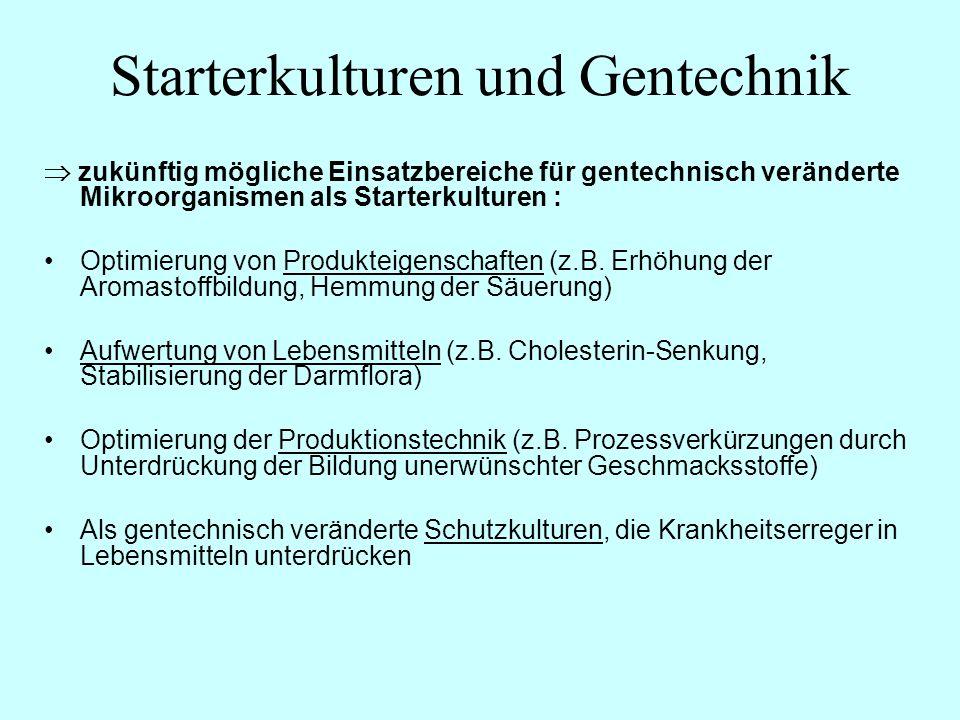 zukünftig mögliche Einsatzbereiche für gentechnisch veränderte Mikroorganismen als Starterkulturen : Optimierung von Produkteigenschaften (z.B. Erhöhu