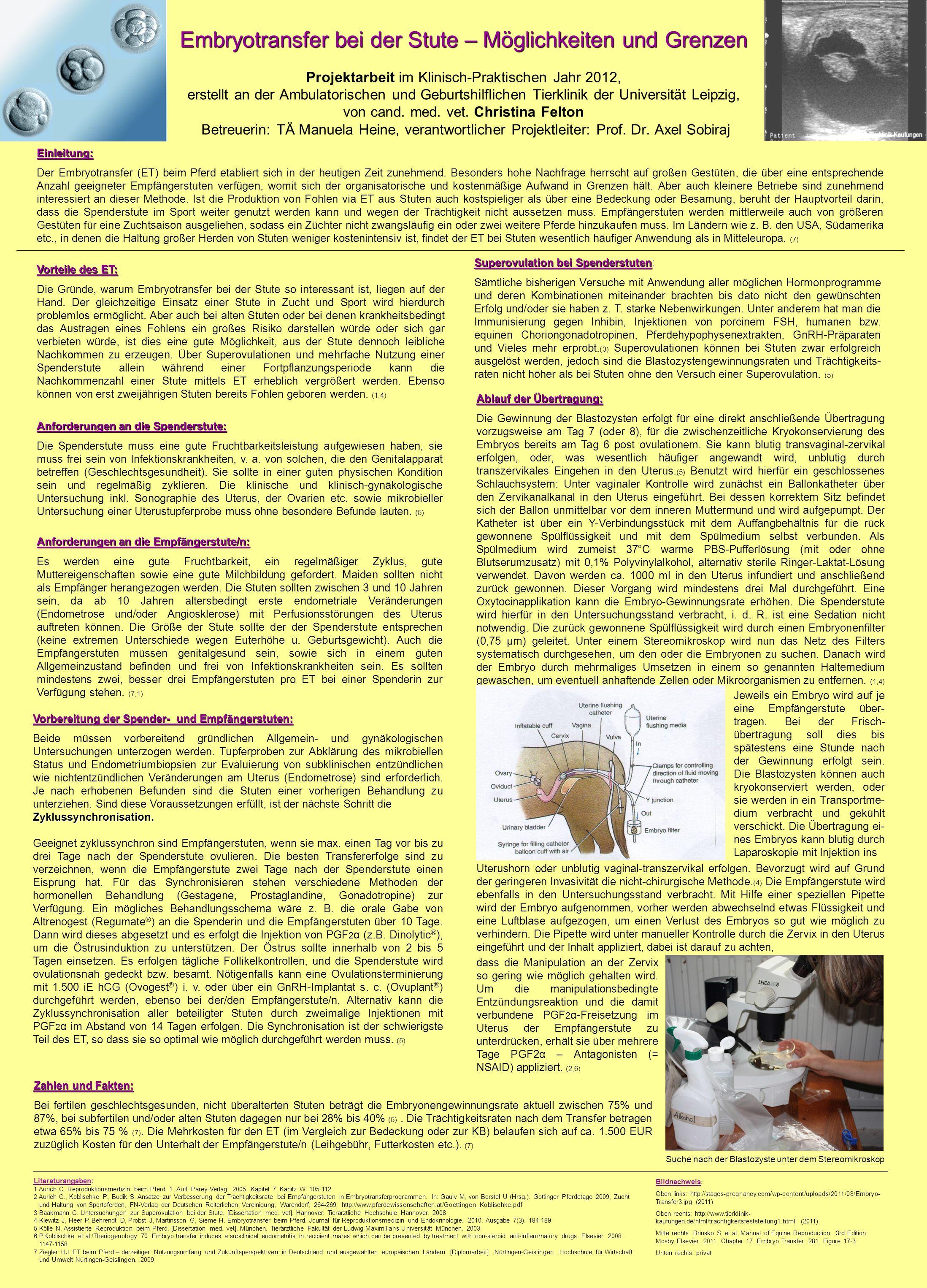 Literaturangaben: 1 Aurich C. Reproduktionsmedizin beim Pferd. 1. Aufl. Parey-Verlag. 2005. Kapitel 7. Kanitz W. 105-112 2 Aurich C., Koblischke P., B