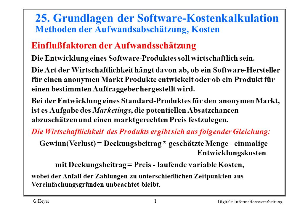 G.Heyer Digitale Informationsverarbeitung 12 Produktivität Die Produktivität wird von vielen verschiedenen Faktoren beeinflußt.