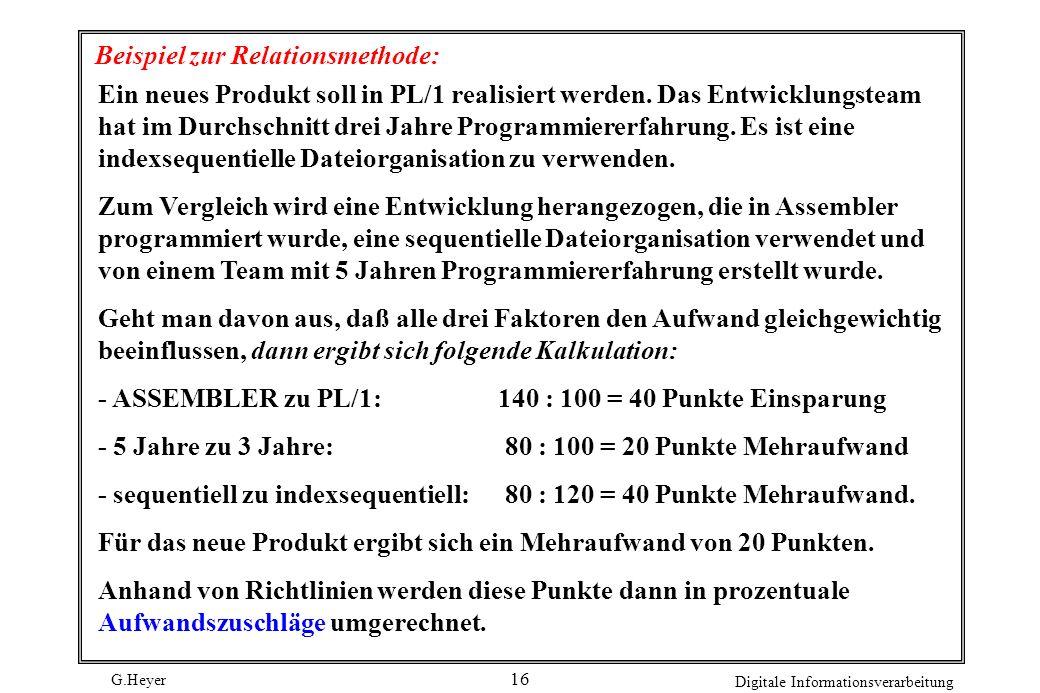 G.Heyer Digitale Informationsverarbeitung 16 Beispiel zur Relationsmethode: Ein neues Produkt soll in PL/1 realisiert werden.