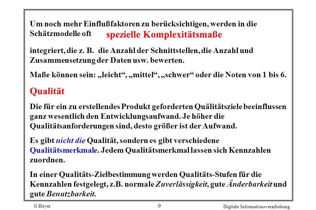 G.Heyer Digitale Informationsverarbeitung 10 Entwicklungsdauer Die Entwicklungsdauer beeinflußt den Aufwand in folgender Form: Soll die Zeit verkürzt werden, dann werden mehr Mitarbeiter benötigt.