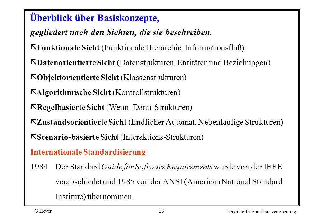 G.Heyer Digitale Informationsverarbeitung 18 Ein Basiskonzept läßt sich durch folgende Eigenschaften charakterisieren: Die in den letzten Jahren entwi