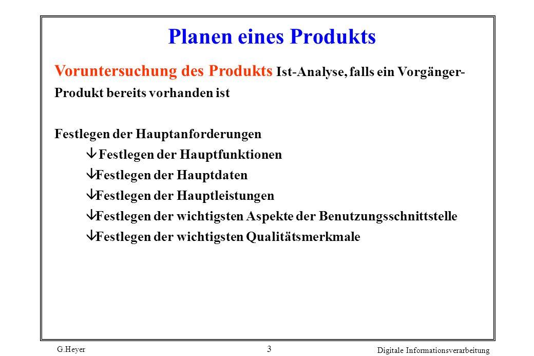 G.Heyer Digitale Informationsverarbeitung 2 Der Software-Entwicklungsprozeß (2) FORDERUNGS- ANALYSE ARCHITEKTUR SYSTEM- SPEZIFIKATION WARTUNG / PFLEGE