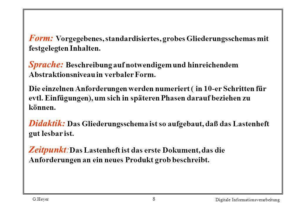 G.Heyer Digitale Informationsverarbeitung 7 Aufbau eines Lastenheftes Aufgabe: Das Lastenheft enthält eine Zusammenfassung aller fachlichen Basisanfor