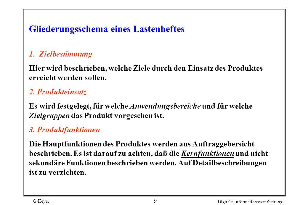 G.Heyer Digitale Informationsverarbeitung 8 Form: Vorgegebenes, standardisiertes, grobes Gliederungsschemas mit festgelegten Inhalten. Sprache: Beschr