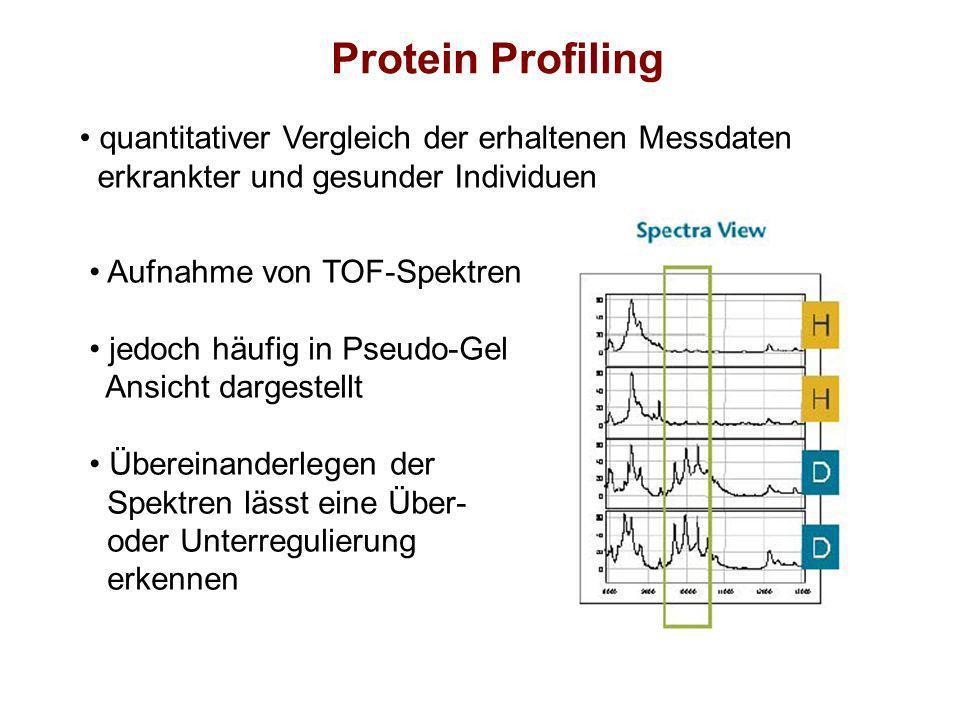 Protein Profiling quantitativer Vergleich der erhaltenen Messdaten erkrankter und gesunder Individuen Aufnahme von TOF-Spektren jedoch häufig in Pseud