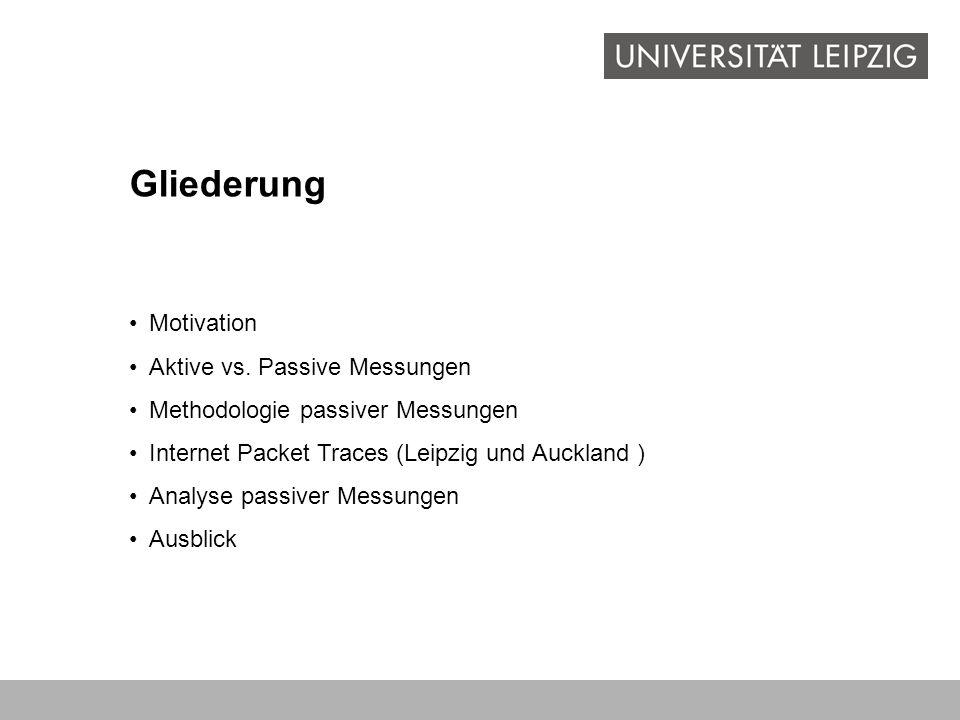 Gliederung Motivation Aktive vs. Passive Messungen Methodologie passiver Messungen Internet Packet Traces (Leipzig und Auckland ) Analyse passiver Mes