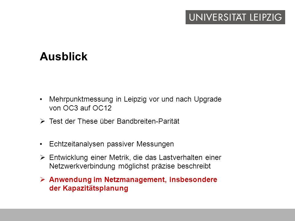 Ausblick Mehrpunktmessung in Leipzig vor und nach Upgrade von OC3 auf OC12 Test der These über Bandbreiten-Parität Echtzeitanalysen passiver Messungen