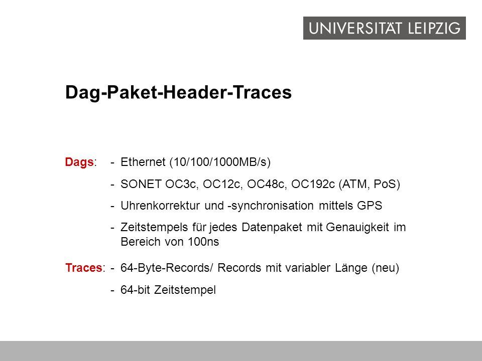 Dag-Paket-Header-Traces Dags:-Ethernet (10/100/1000MB/s) -SONET OC3c, OC12c, OC48c, OC192c (ATM, PoS) -Uhrenkorrektur und -synchronisation mittels GPS