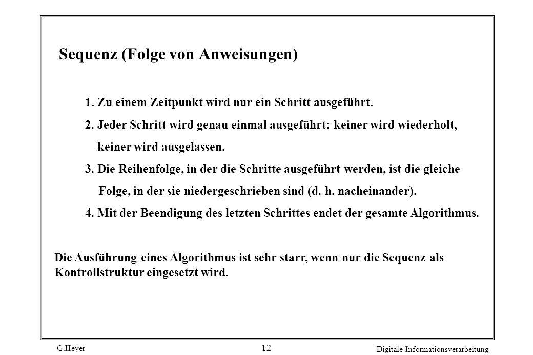 G.Heyer Digitale Informationsverarbeitung 12 Sequenz (Folge von Anweisungen) 1. Zu einem Zeitpunkt wird nur ein Schritt ausgeführt. 2. Jeder Schritt w