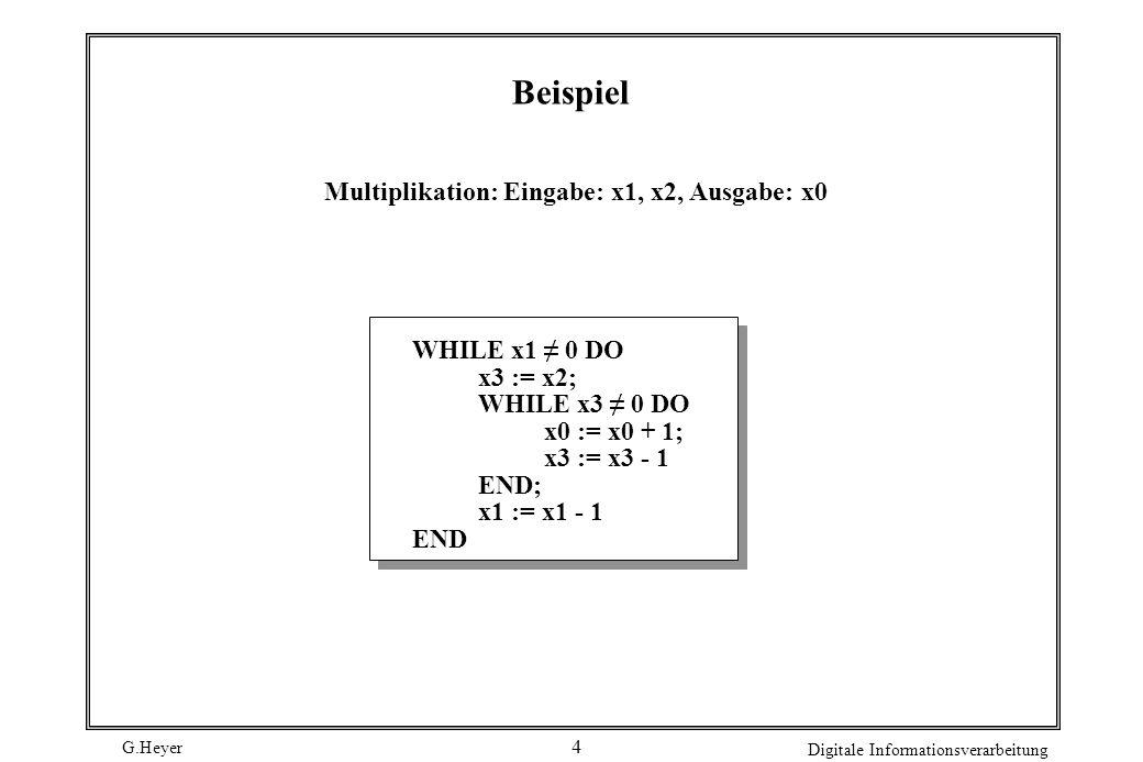 G.Heyer Digitale Informationsverarbeitung 5 Syntax von WHILE-Programmen in BNF   ;   WHILE DO END := +   := - x0   x1   x2  ...