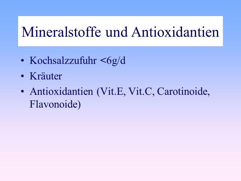 Mineralstoffe und Antioxidantien Kochsalzzufuhr <6g/d Kräuter Antioxidantien (Vit.E, Vit.C, Carotinoide, Flavonoide)