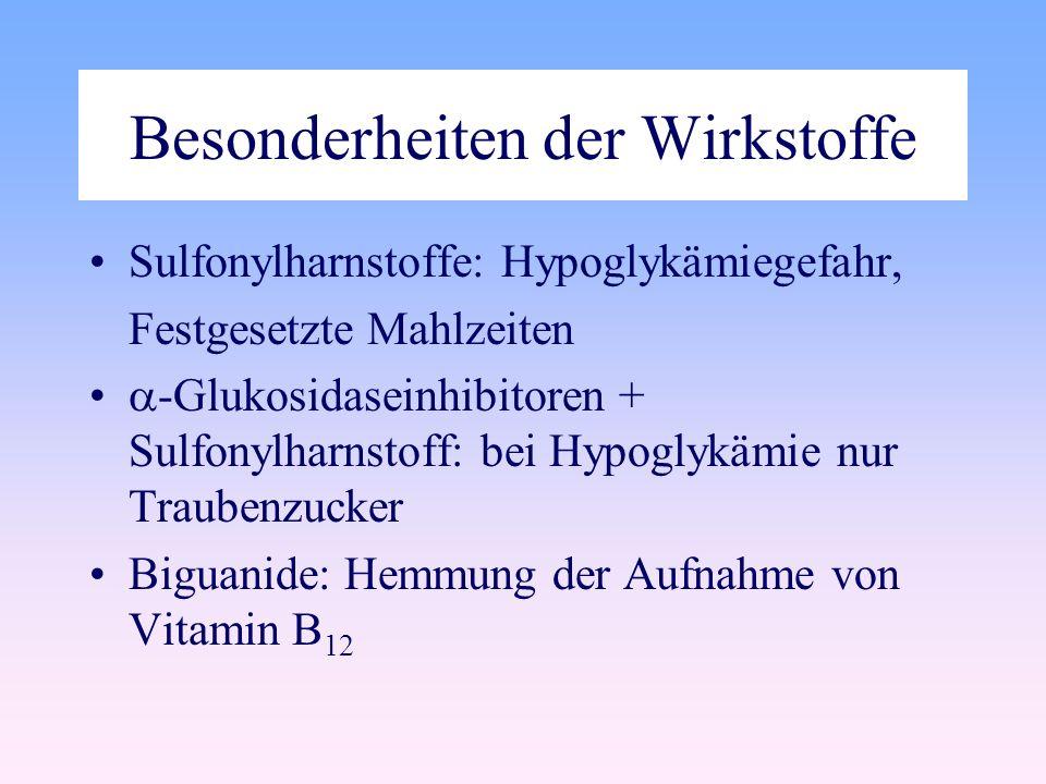Besonderheiten der Wirkstoffe Sulfonylharnstoffe: Hypoglykämiegefahr, Festgesetzte Mahlzeiten -Glukosidaseinhibitoren + Sulfonylharnstoff: bei Hypoglykämie nur Traubenzucker Biguanide: Hemmung der Aufnahme von Vitamin B 12