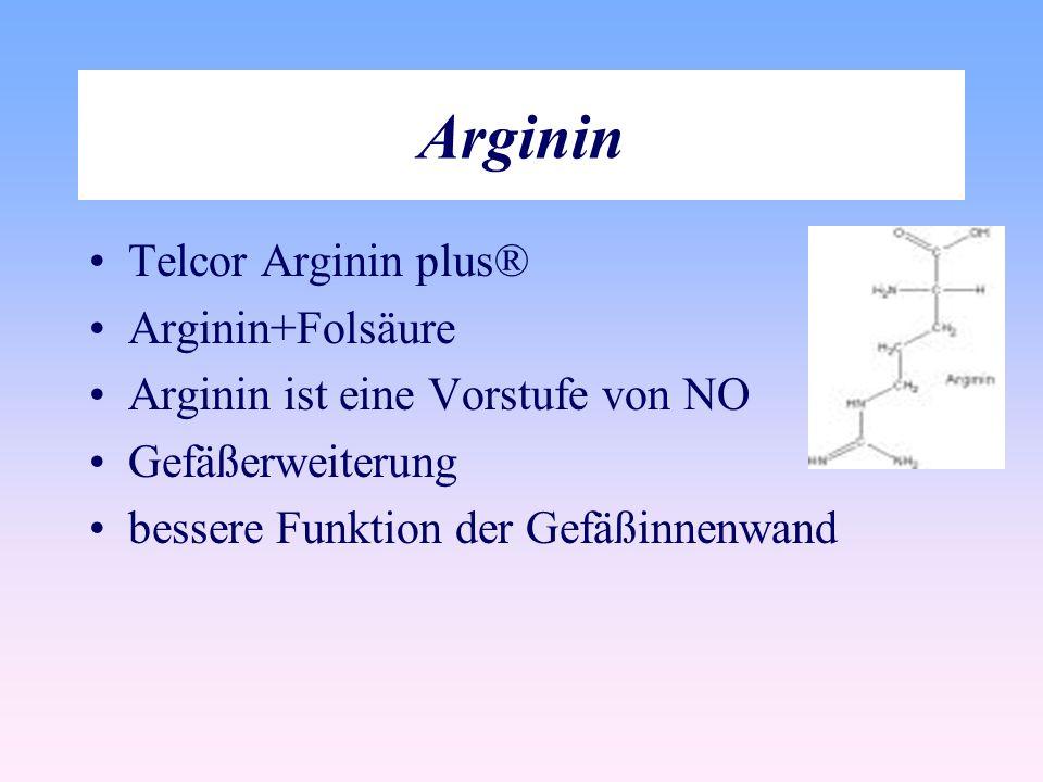Arginin Telcor Arginin plus® Arginin+Folsäure Arginin ist eine Vorstufe von NO Gefäßerweiterung bessere Funktion der Gefäßinnenwand