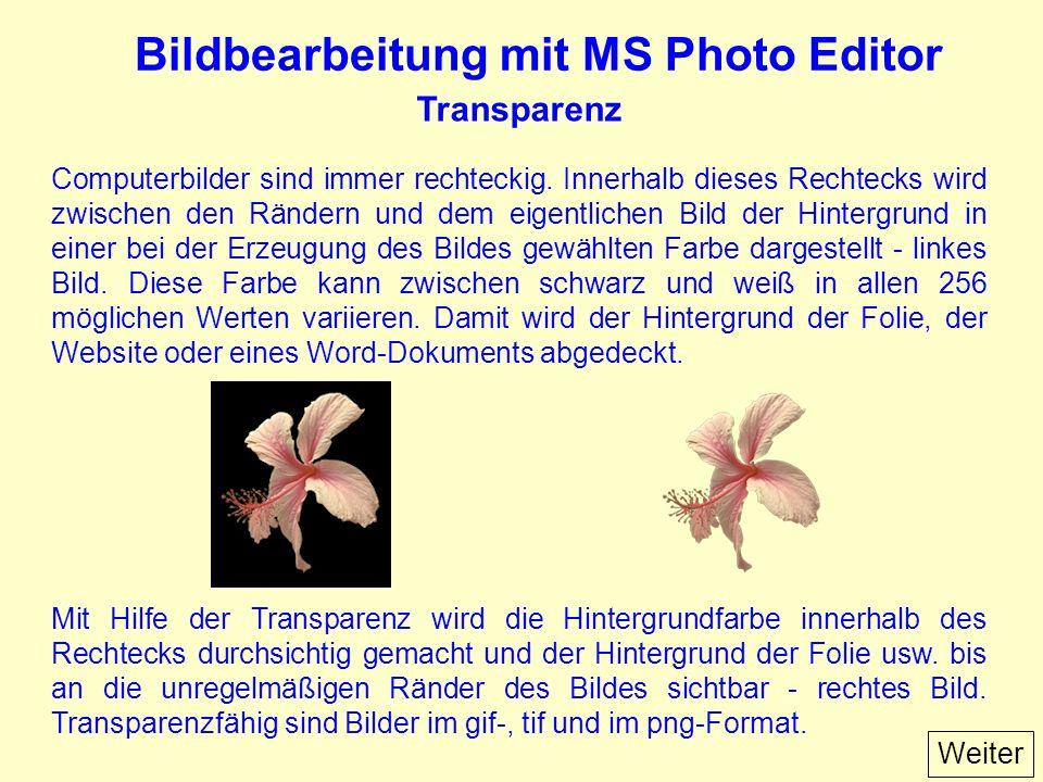 Bildbearbeitung mit MS Photo Editor Transparenz Computerbilder sind immer rechteckig.