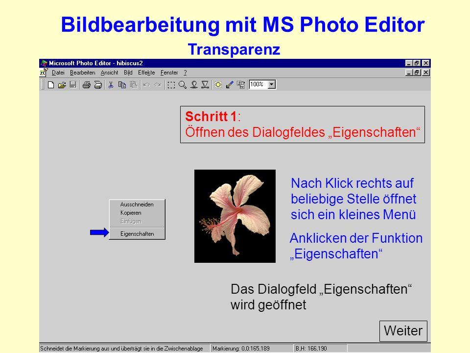 Bildbearbeitung mit MS Photo Editor Transparenz Schritt 1: Öffnen des Dialogfeldes Eigenschaften Nach Klick rechts auf beliebige Stelle öffnet sich ein kleines Menü Anklicken der Funktion Eigenschaften Das Dialogfeld Eigenschaften wird geöffnet Weiter