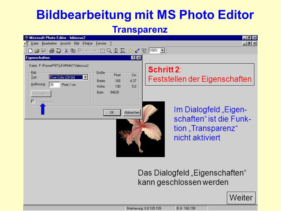 Bildbearbeitung mit MS Photo Editor Transparenz Schritt 2: Feststellen der Eigenschaften Im Dialogfeld Eigen- schaften ist die Funk- tion Transparenz nicht aktiviert Das Dialogfeld Eigenschaften kann geschlossen werden Weiter