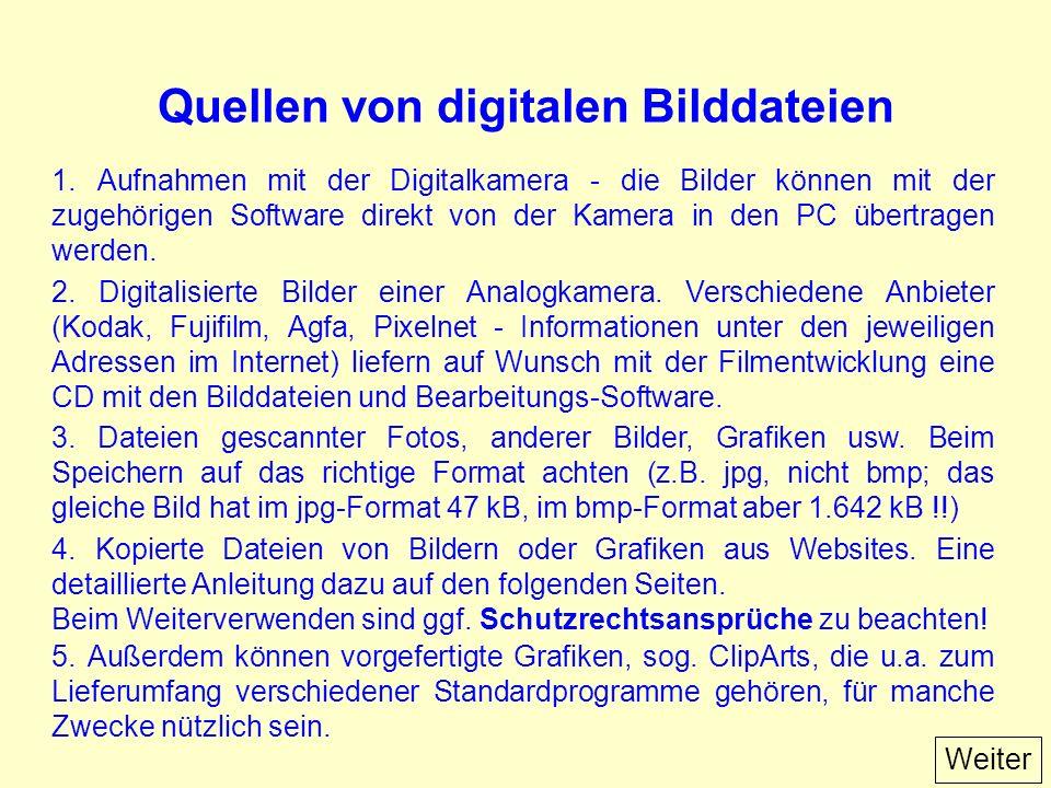 Quellen von digitalen Bilddateien 1.