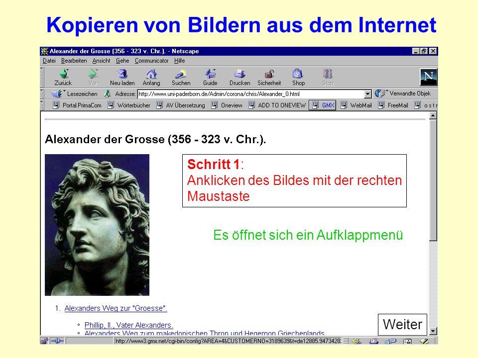 Schritt 1: Anklicken des Bildes mit der rechten Maustaste Es öffnet sich ein Aufklappmenü Kopieren von Bildern aus dem Internet Weiter