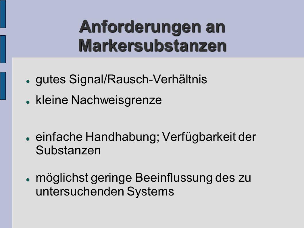 Anforderungen an Markersubstanzen gutes Signal/Rausch-Verhältnis kleine Nachweisgrenze einfache Handhabung; Verfügbarkeit der Substanzen möglichst geringe Beeinflussung des zu untersuchenden Systems