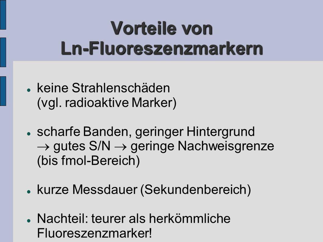 Vorteile von Ln-Fluoreszenzmarkern keine Strahlenschäden (vgl.