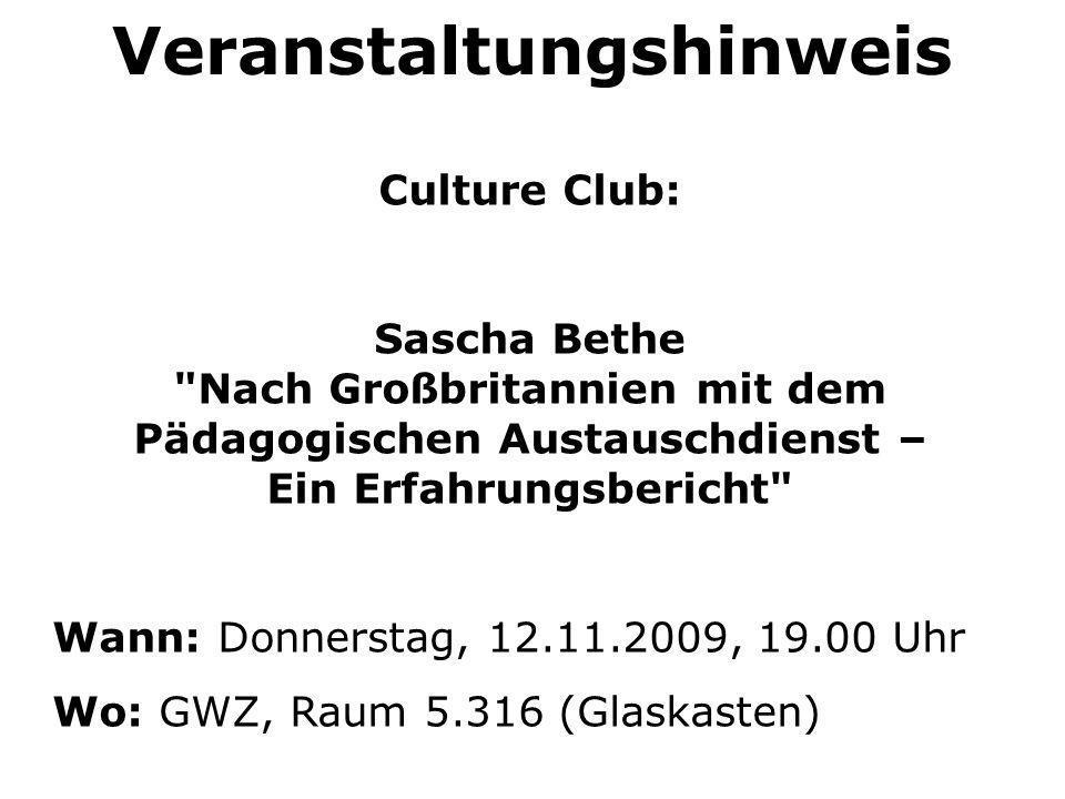 Veranstaltungshinweis Culture Club: Sascha Bethe