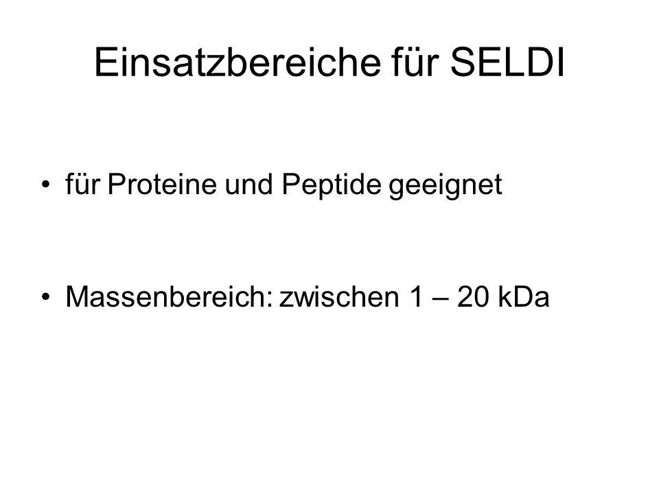 Einsatzbereiche für SELDI für Proteine und Peptide geeignet Massenbereich: zwischen 1 – 20 kDa