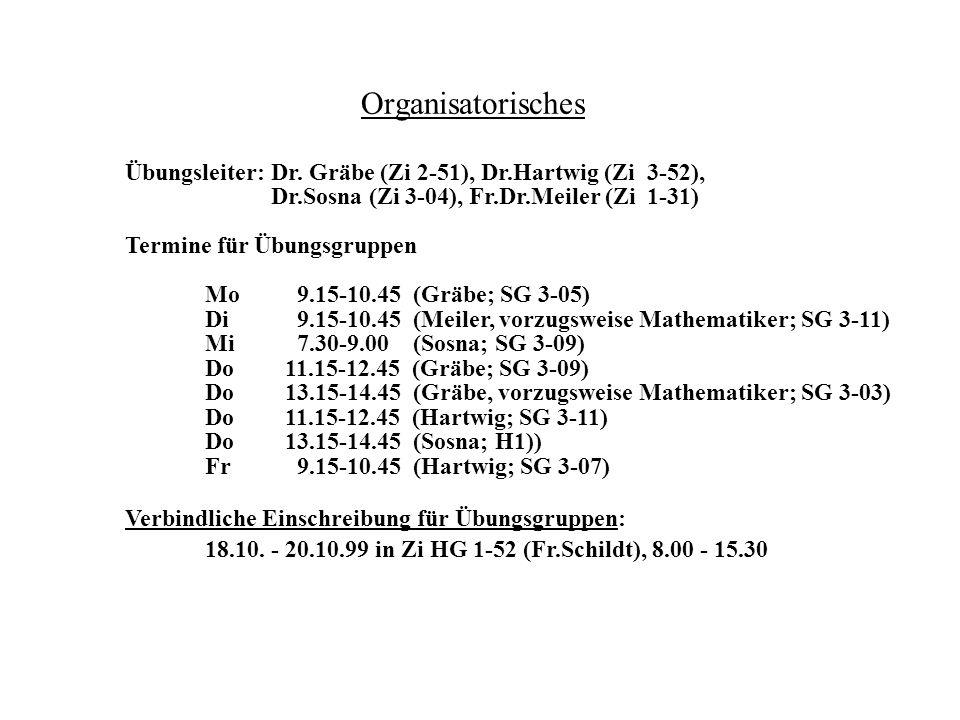 Organisatorisches Übungsleiter: Dr. Gräbe (Zi 2-51), Dr.Hartwig (Zi 3-52), Dr.Sosna (Zi 3-04), Fr.Dr.Meiler (Zi 1-31) Termine für Übungsgruppen Mo 9.1