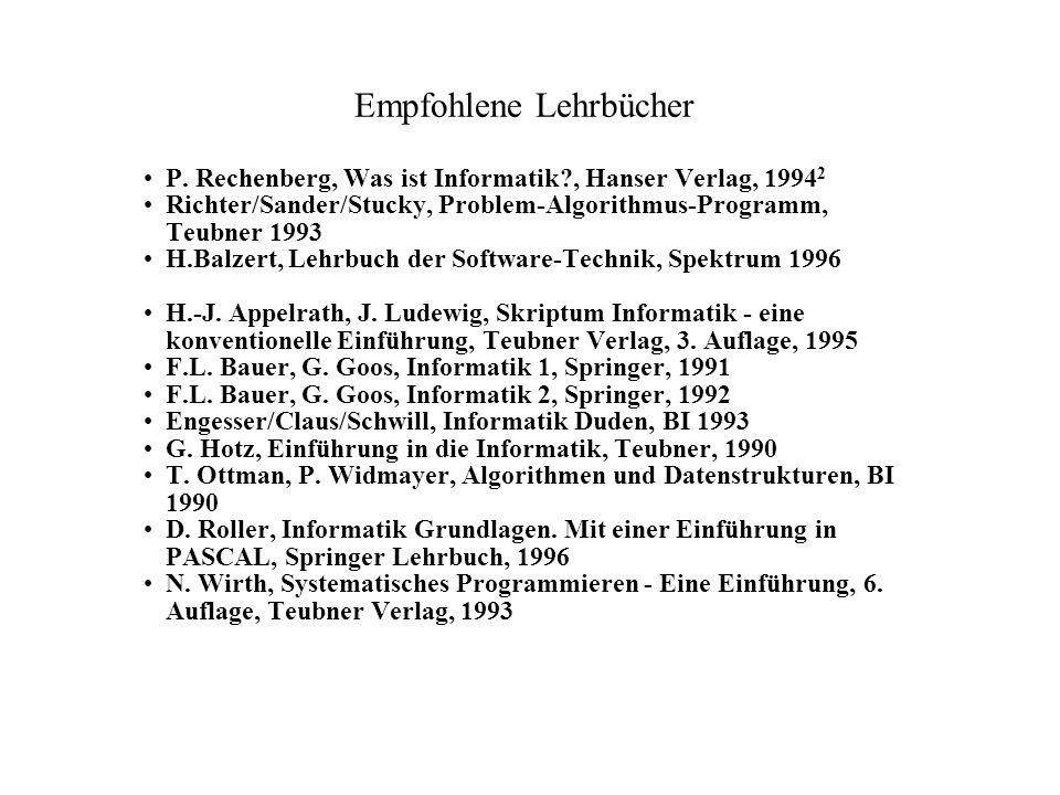 Empfohlene Lehrbücher P. Rechenberg, Was ist Informatik?, Hanser Verlag, 1994 2 Richter/Sander/Stucky, Problem-Algorithmus-Programm, Teubner 1993 H.Ba