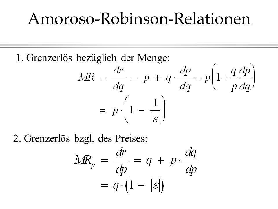 Amoroso-Robinson-Relationen 1. Grenzerlös bezüglich der Menge: 2. Grenzerlös bzgl. des Preises: