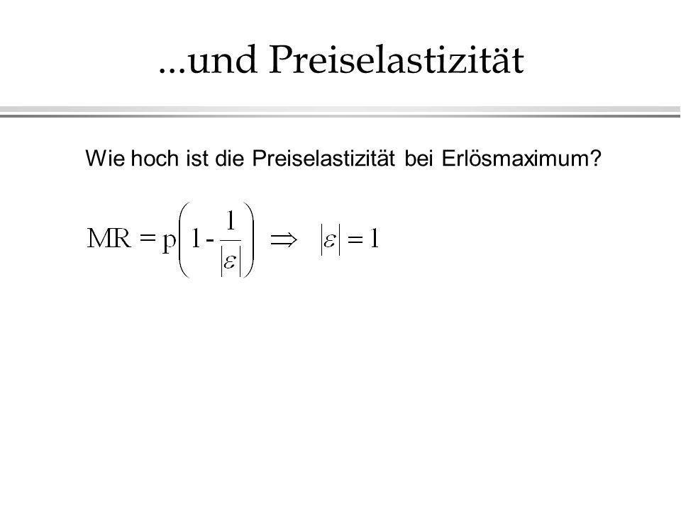 ...und Preiselastizität Wie hoch ist die Preiselastizität bei Erlösmaximum?