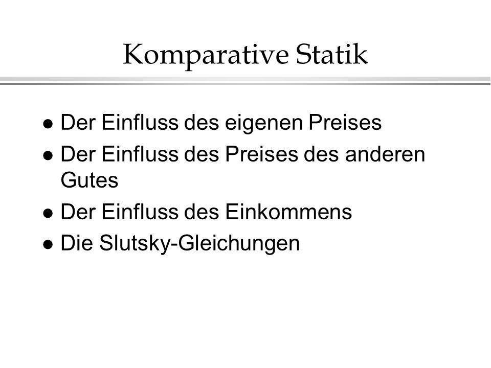 Komparative Statik l Der Einfluss des eigenen Preises l Der Einfluss des Preises des anderen Gutes l Der Einfluss des Einkommens l Die Slutsky-Gleichu