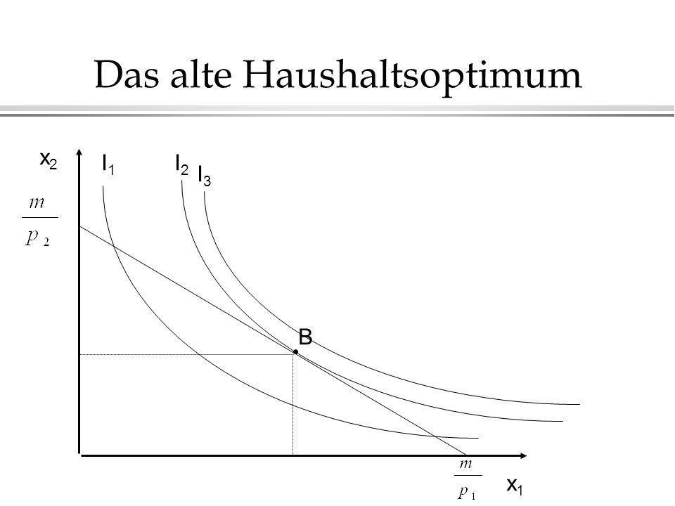 Das alte Haushaltsoptimum x2x2 x1x1 I1I1 I2I2 B I3I3